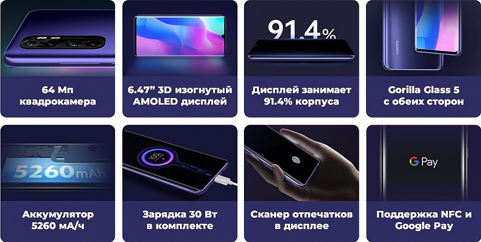 Основные преимущества Xiaomi Mi Note 10 Lite