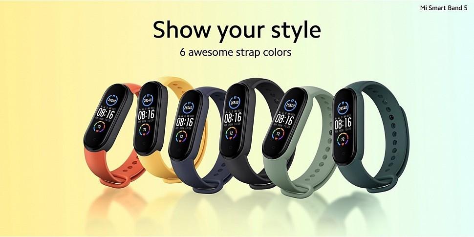 Xiaomi Mi Smart Band 5 - доступно 6 цветов ремешков