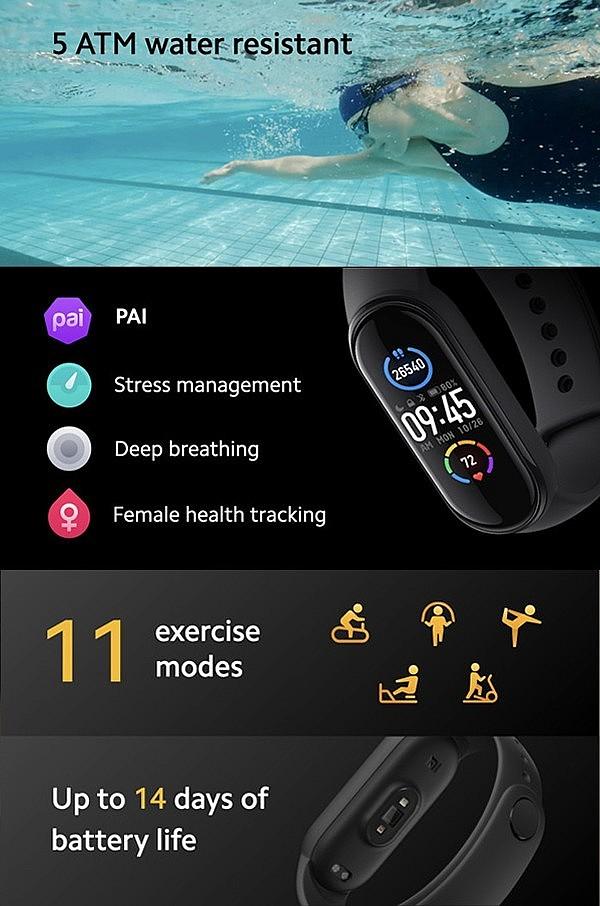 Xiaomi Mi Smart Band 5 - 11 режимов физической активности, погружение до 50 метров