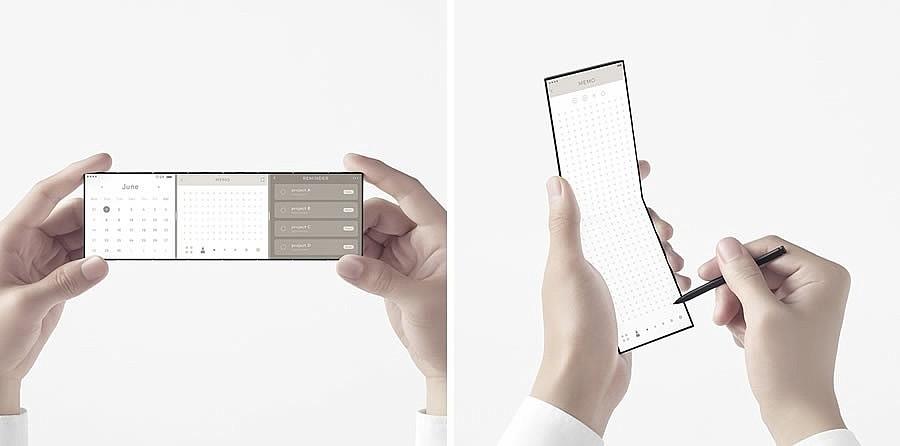 В полностью развернутом виде телефон имеет 7-дюймовый дисплей с узкими рамками