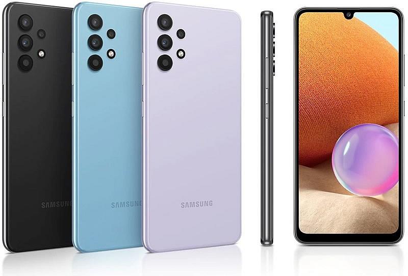 Samsung Galaxy A32 доступен в конфигурациях памяти 4/64 Гб, 4/128 Гб и ярких цветах: черном, фиолетовом и голубом