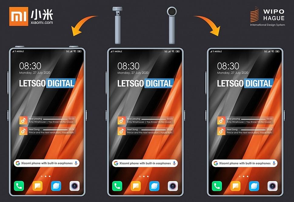 Смартфон Xiaomi с отсеками для хранения беспроводных наушников - поворотная конструкция