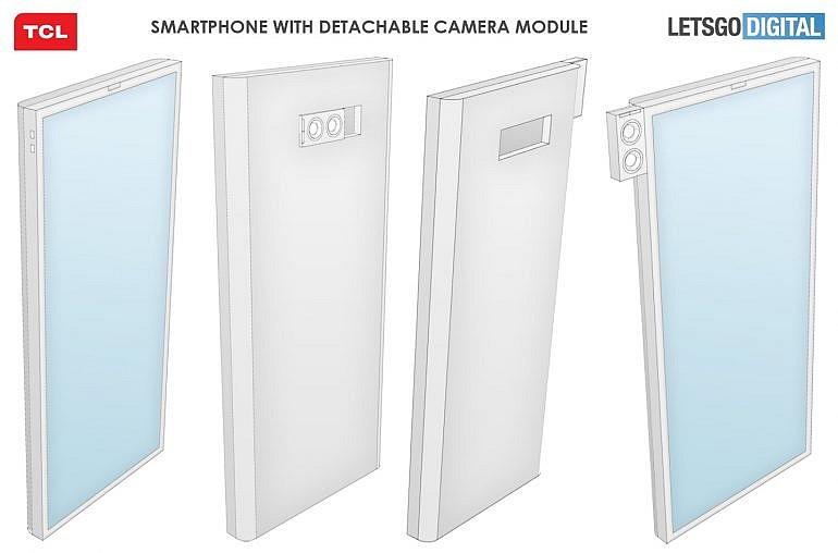 Согласно схеме патента TCL съемный модуль двойной камеры можно использовать как на задней панели, так и спереди, в качестве селфи-камеры