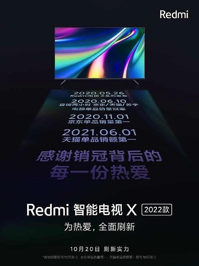 Новая линейка телевизоров Redmi Smart TV X 2022 будет представлена 20 октября