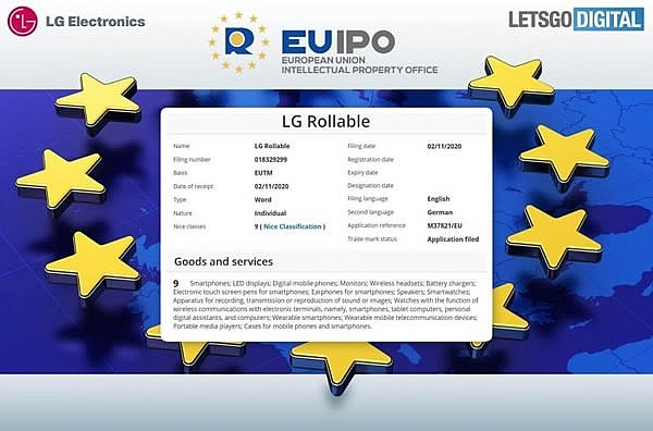 Патент на торговый знак LG Rollable в EUIPO