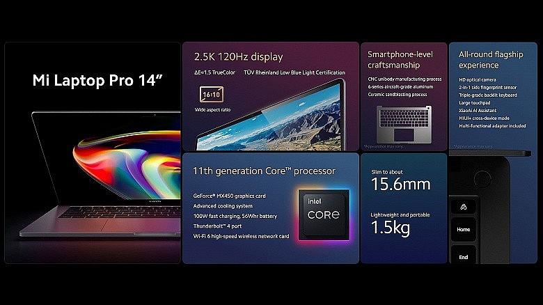 Xiaomi Mi NoteBook Pro 14 2021 - OLED 2.5К дисплей, процессор 11-го поколения Intel Core и видеокарта NVIDIA GeForce MX450