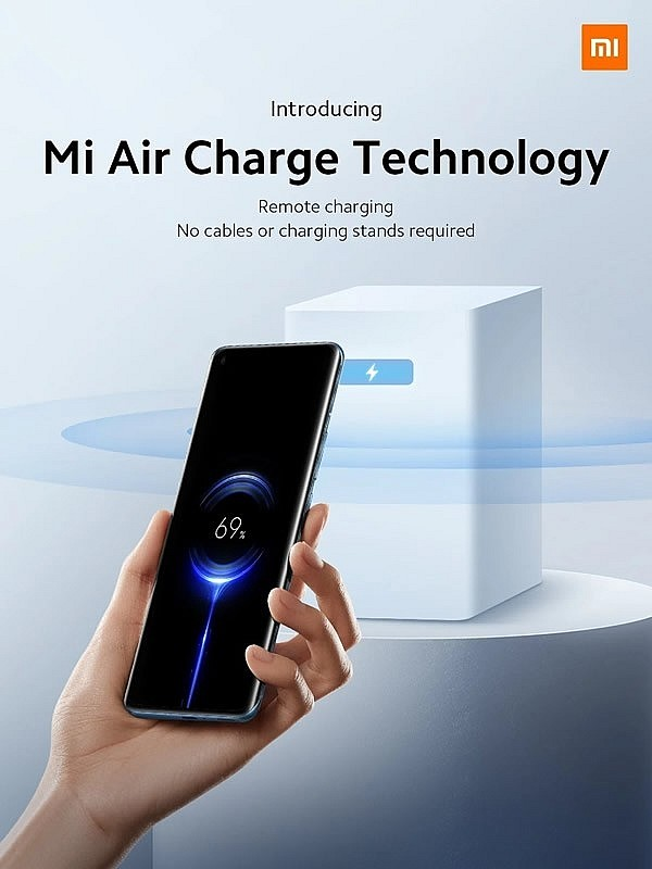 Технология Xiaomi Mi Air Charge позволяет заряжать по воздуху несколько устройств сразу без необходимости в кабелях или беспроводной зарядной подставке.