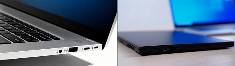 Разъемы ноутбука Intel NUC M15 на левой и правой панели