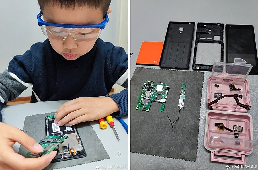 9-летний мальчик разобрал старый неиспользуемый мобильный телефон Xiaomi Redmi и разместил его запчасти в рамке-багете